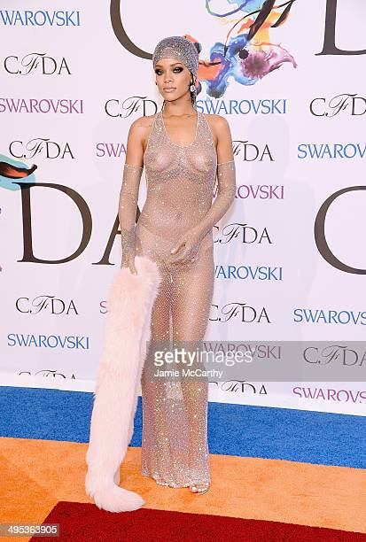 Image contains nudity Rihanna the 2014 CFDA fashion awards at Alice Tully Hall Lincoln Center on June 2 2014 in New York City