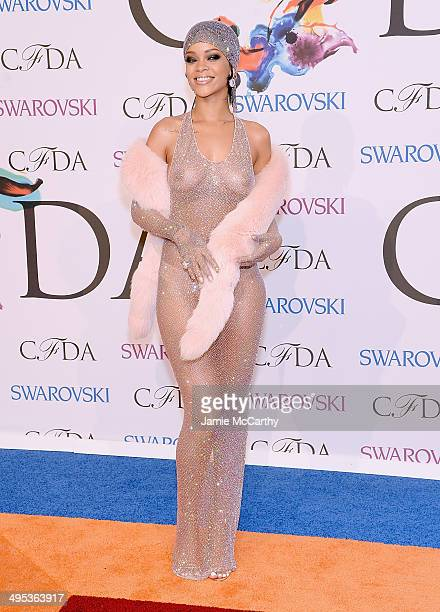 Image contains nudity.) Rihanna the 2014 CFDA fashion awards at Alice Tully Hall, Lincoln Center on June 2, 2014 in New York City.