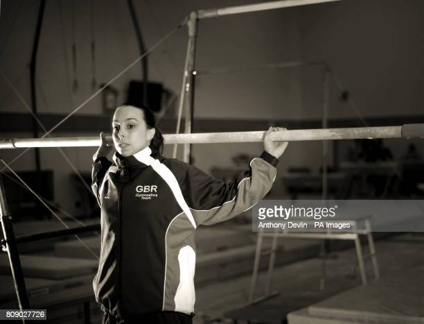 Image converted to sepia in photoshop Beth Tweddle poses beside the uneven bars during the media open day at Lilleshall National Sports Centre in...