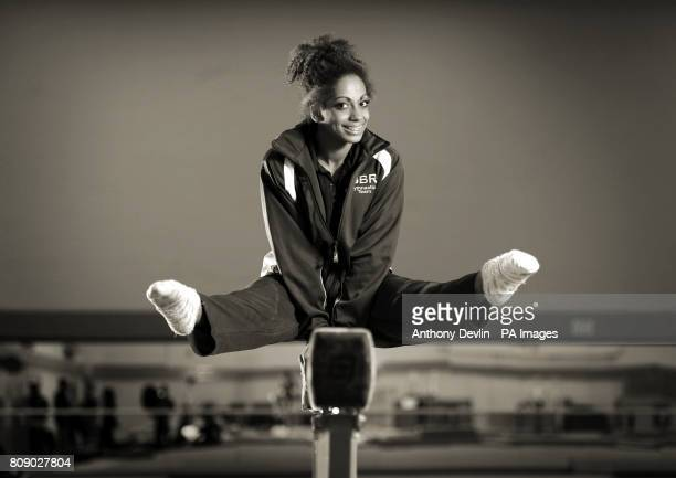 Image converted to sepia in photoshop Danusia Francis poses on the beam during the media open day at Lilleshall National Sports Centre in Shropshire...