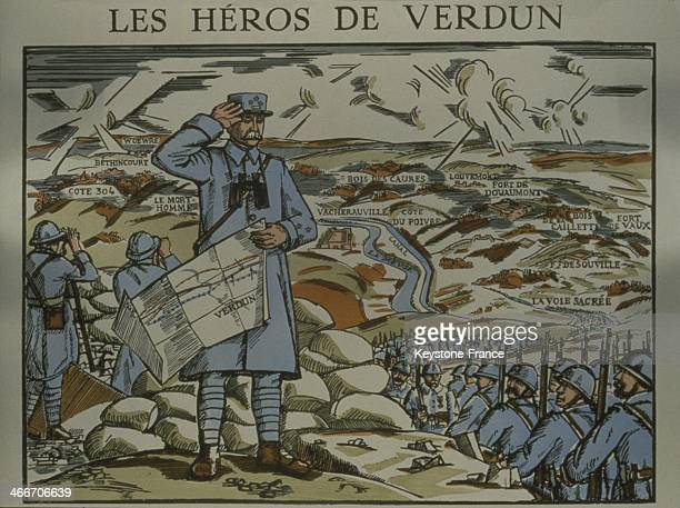 Image D Epinal of General Philippe Petain hero of the battle of Verdun in 1916 circa 1940 in France