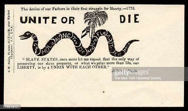 Image depicts a snake labeled with the names of the Confederate states Text reads 'The device of our fathers in their first struggle for liberty 1776...