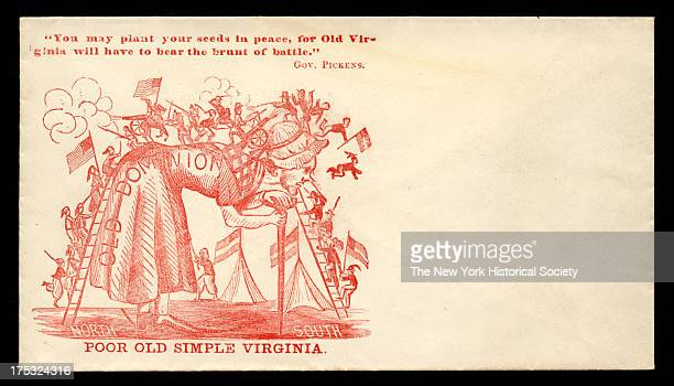 Image depicts a woman labeled 'Old Dominion' stoops as Union and Confederate soldiers climb onto her and do battle on her back Text reads 'You may...