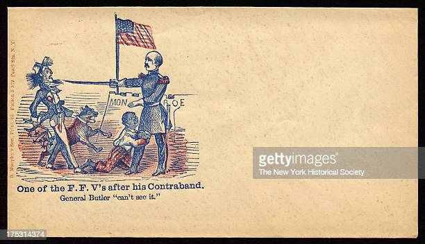 Image depicts an African American boy who clings to the leg of General Butler as the latter extends his sword to fendoff a slave owner with whip and...