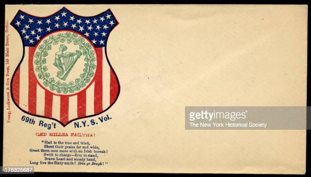 Image depicts an American shield with the New York's 69th Battalion seal in center. Text reads 'Caed millea failtha!; Hail to the true and tried;...