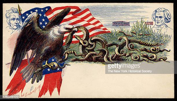 Image depicts an eagle with a snake in its beak and another in claws an American flag behind the eagle and the faces of Andrew Jackson and John...