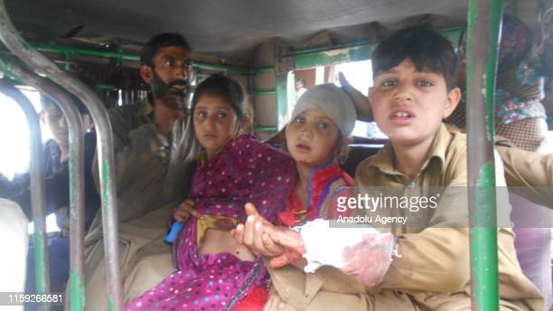 [EDITORS NOTE Image depicts graphic content] Wounded children are seen after Indian forces attacked near Line of Control in Pakistan on August 03...
