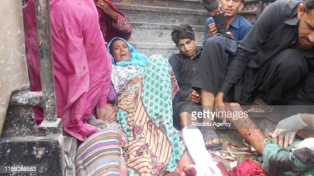 [EDITORS NOTE Image depicts graphic content] Wounded people are seen after Indian forces attacked near Line of Control in Pakistan on August 03 2019...