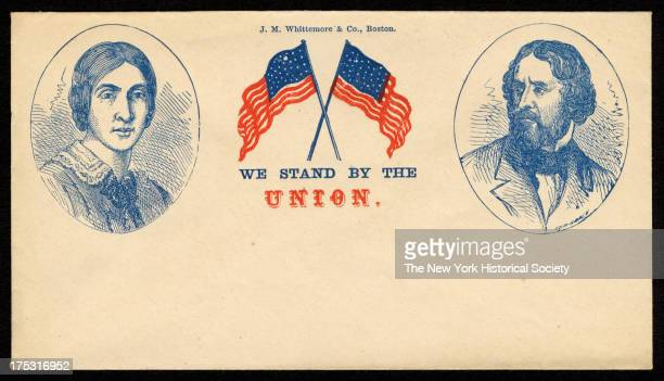 Image depicts portraits of Jesse B Fremont and John C Fremont with crossed American flags between them and the phrase 'We stand by the Union'