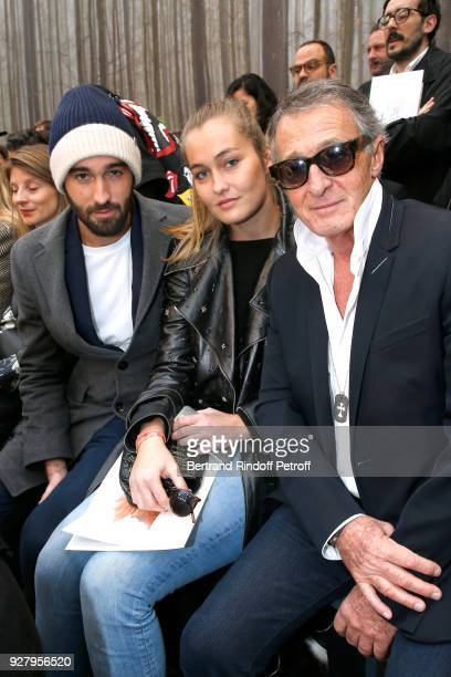 Image Director at Chanel Eric Pfrunder with his son Jasper Pfrunder and his daughter Tess Pfrunder attend the Chanel show as part of the Paris...