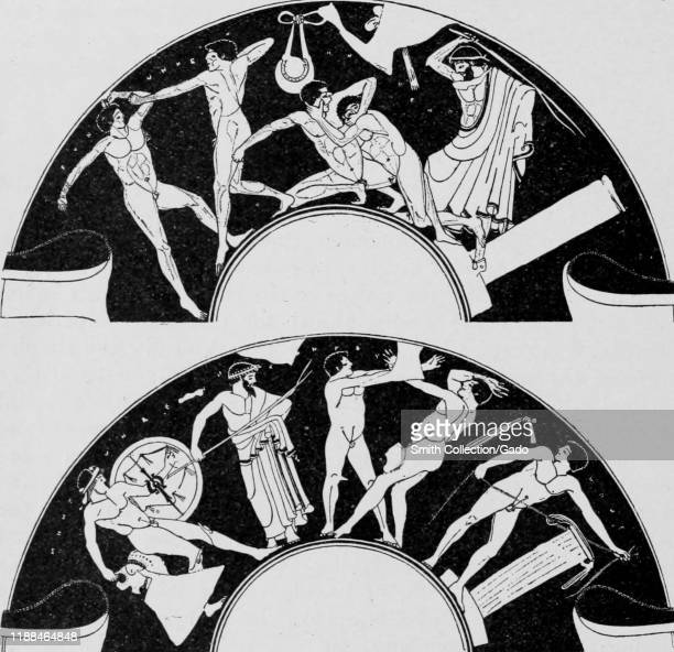 Image featuring Greek men wrestling and boxing taken from the book Greek Athletic Sports and Festivals by author E Norman Gardiner published by...