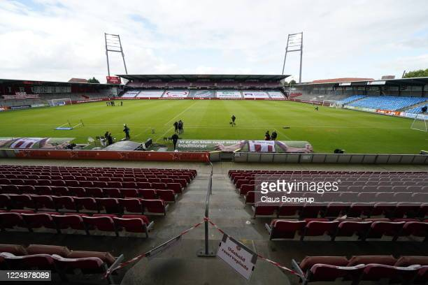 Image from the Danish 3F Superliga match between AaB Aalborg and Brondby IF at Aalborg Portland Park on July 5, 2020 in Aalborg, Denmark.