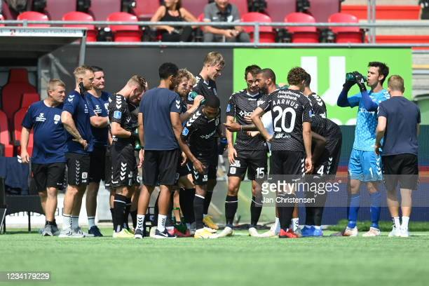 Image from the Danish 3F Superliga match between FC Nordsjalland and AGF Arhus at Right to Dream Park on July 25, 2021 in Farum, Denmark.