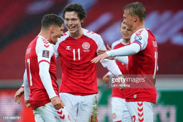 Image from the FIFA World Cup 2022 Qatar qualifying match between Denmark and Moldova at MCH Arena on March 28, 2021 in Herning, Denmark.
