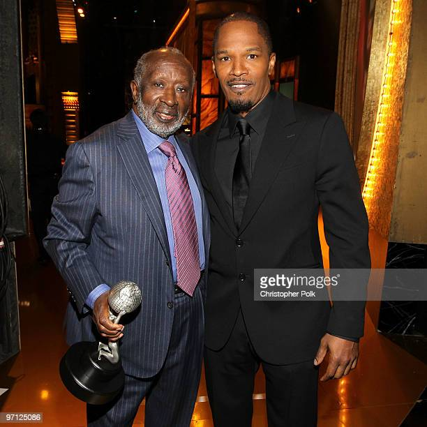 Image Hall of Fame winner Clarence Avant and actor Jamie Foxx during the 41st NAACP Image awards held at The Shrine Auditorium on February 26 2010 in...