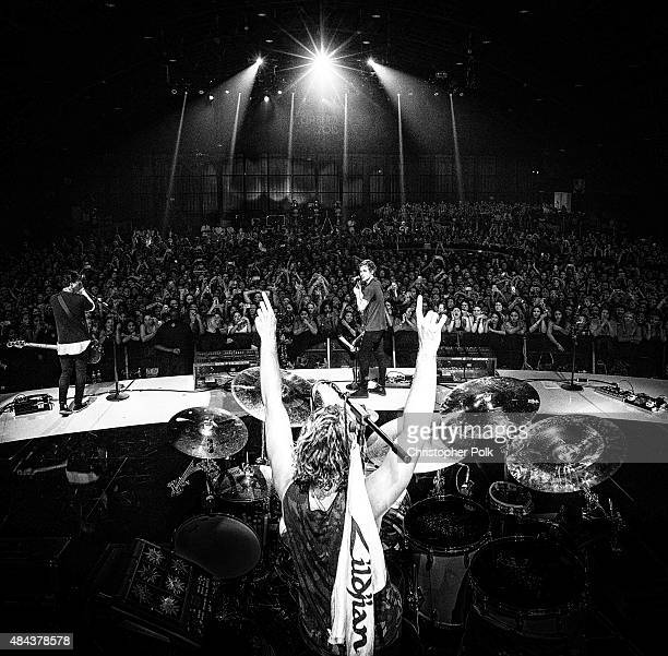 Image has been converted to black and white 5 Seconds of Summer performs onstage during Vevo Certified Live at Barker Hangar on August 17 2015 in...