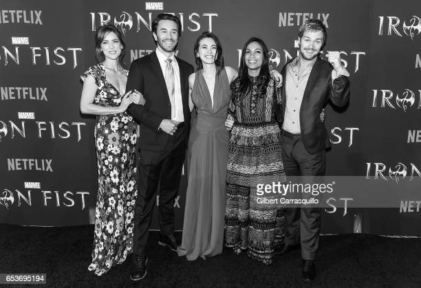 Image has been converted to black and white Actors Jessica Stroup Tom Pelphrey Jessica Henwick Rosario Dawson and Finn Jones attend Marvel's 'Iron...