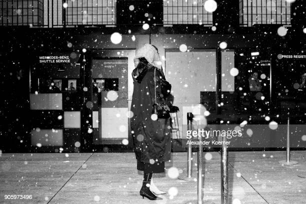 Image has been converted to black and white An alternative view during the MBFW Berlin January 2018 at ewerk on January 17 2018 in Berlin Germany