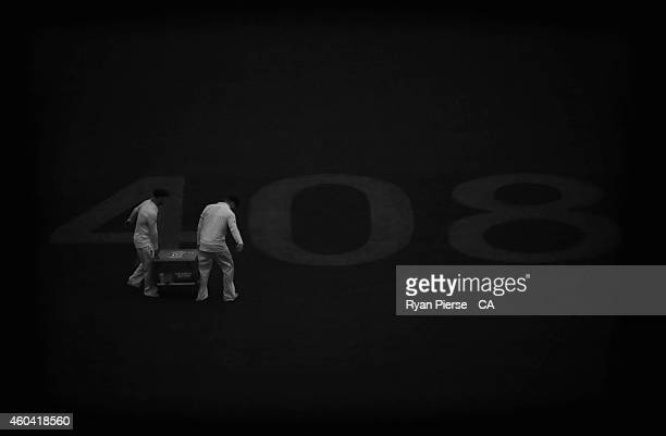 Image has been converted to black and white David Warner and Steve Smith of Australia carry an esky of beer before the Australian Cricket Team...