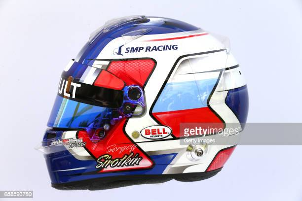 Image has been digitally manipulated The helmet of Sergey Sirotkin of Russia and Renault Sport F1 during previews to the F1 Australian Grand Prix at...