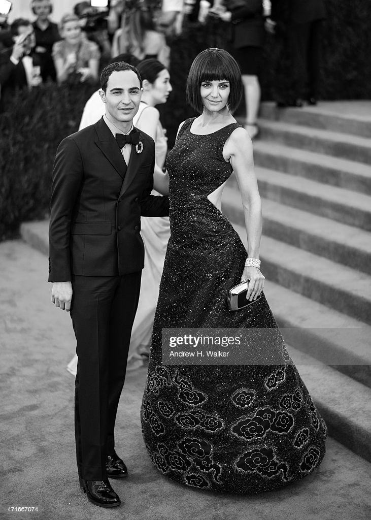 Image has been digitally processed] Actress Katie Holmes and fashion designer Zac Posen attend the 'China: Through The Looking Glass' Costume Institute Benefit Gala at the Metropolitan Museum of Art on May 4, 2015 in New York City.