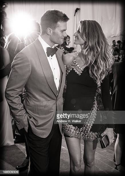 image has been digitally processed and converted to black and white] Tom Brady and Gisele Bundchen attend the Costume Institute Gala for the 'PUNK...