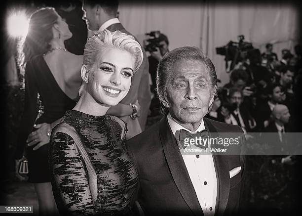 Image has been digitally processed and converted to black and white] Anne Hathaway and Valentino Garavani attend the Costume Institute Gala for the...