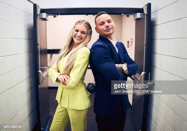 Image has been processed using digital filters: Kelsea Ballerini and Kane Brown attend the 2021 CMT Music Awards at Bridgestone Arena on June 09,...
