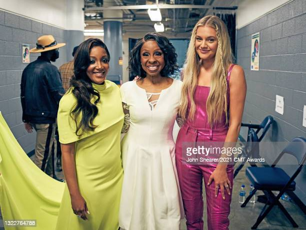 Image has been processed using digital filters: Mickey Guyton, Gladys Knight and Kelsea Ballerini attend the 2021 CMT Music Awards at Bridgestone...