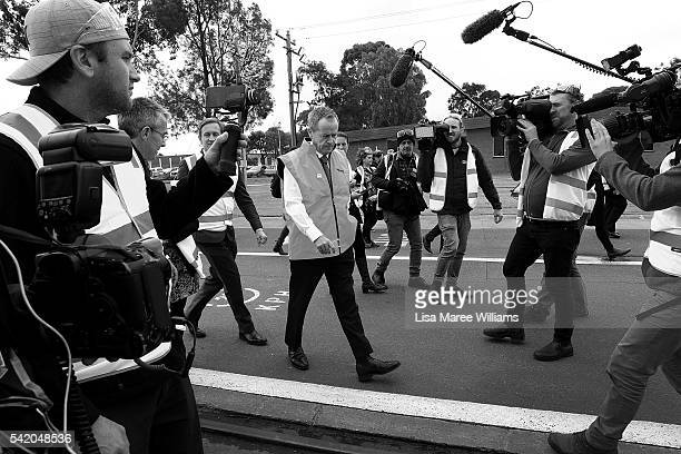 Image has been shot in black and white no colour version available Leader of the Opposition for the Australian Labor Party Bill Shorten is surrounded...