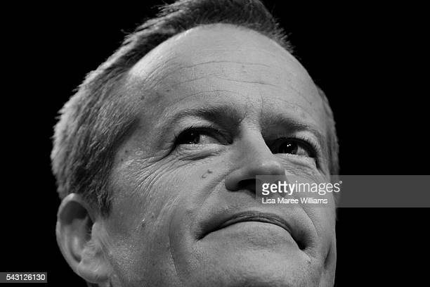 Image has been shot in black and white no colour version available Leader of the Opposition Australian Labor Party Bill Shorten addresses the...