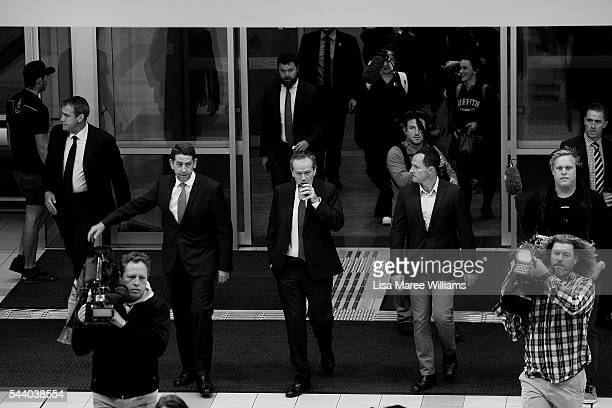 Image has been shot in black and white no colour version available Opposition Leader Australian Labor Party Bill Shorten arrives at the Royal...