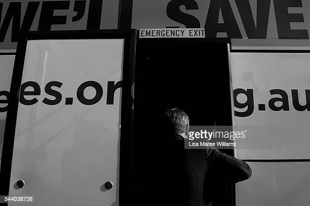 Image has been shot in black and white no colour version available Opposition Leader Australian Labor Party Bill Shorten boards the campaign bus...