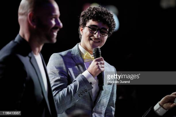 Image has converted to black and white Franck Gastambide and Idir Ben Addi during the Cesar Revelations 2020 at Petit Palais Ceremony on January 13...