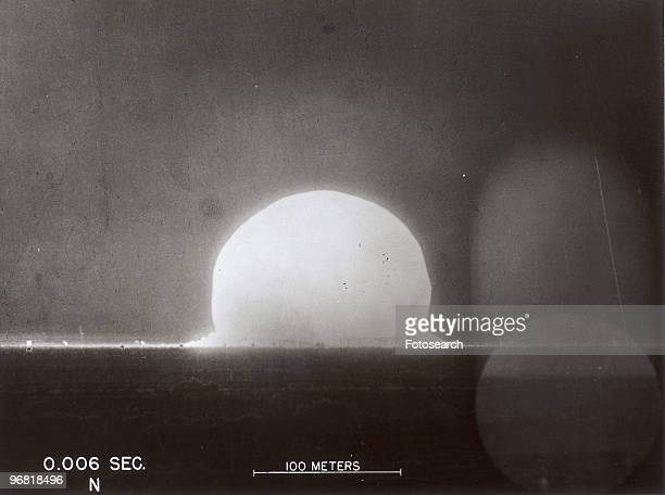 Image labeled '0006 Sec' of the first Nuclear Test codenamed 'Trinity' conducted by Los Alamos National Laboratory at Alamogordo New Mexico circa 1945