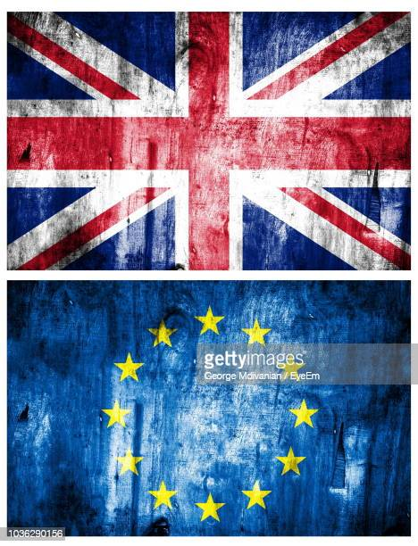 image montage of national flags - british and eu flag stock pictures, royalty-free photos & images