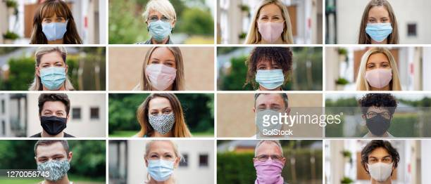 image montage of people wearing face masks - obscured face stock pictures, royalty-free photos & images