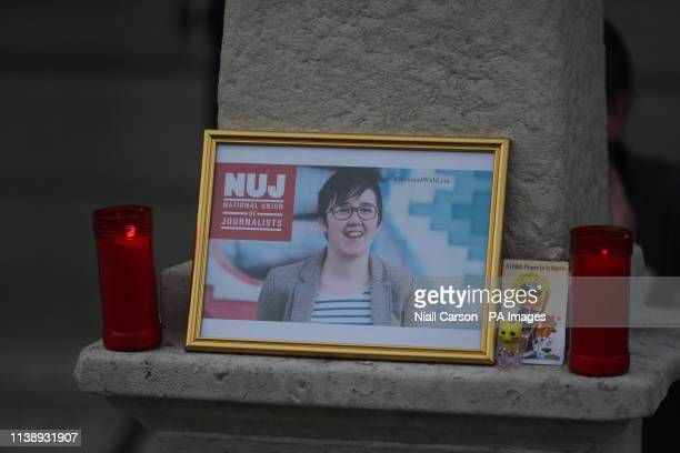A image of 29 yearold Lyra McKee displayed during a vigil in Dublin for the murdered journalist