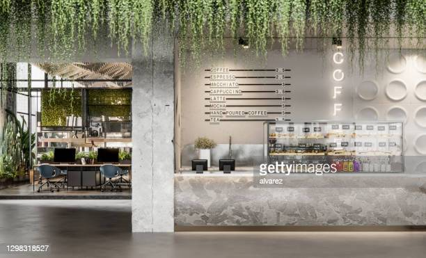 3d image of a cafeteria in large office - coffee shop stock pictures, royalty-free photos & images