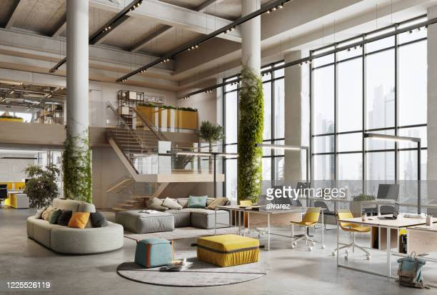 3d image of a environmentally friendly office space - entrance hall stock pictures, royalty-free photos & images