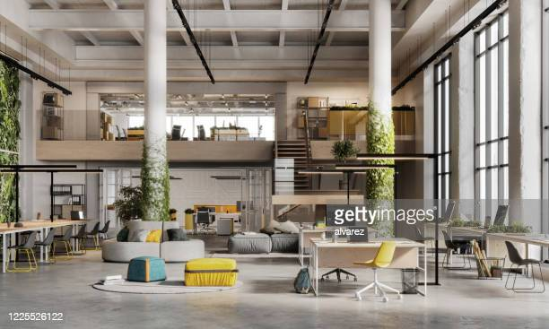 3d image of a environmentally friendly office space - fashionable stock pictures, royalty-free photos & images