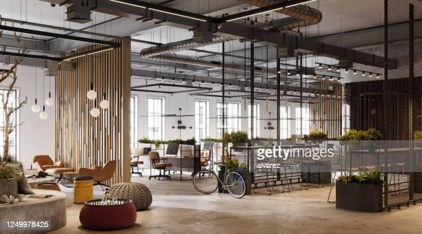 3d image of a environmentally friendly office space - dentro imagens e fotografias de stock