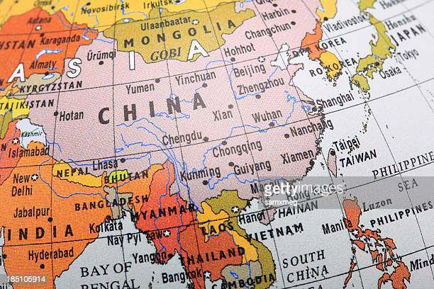 image of a globe focusing on southeast asia - china oost azië stockfoto's en -beelden