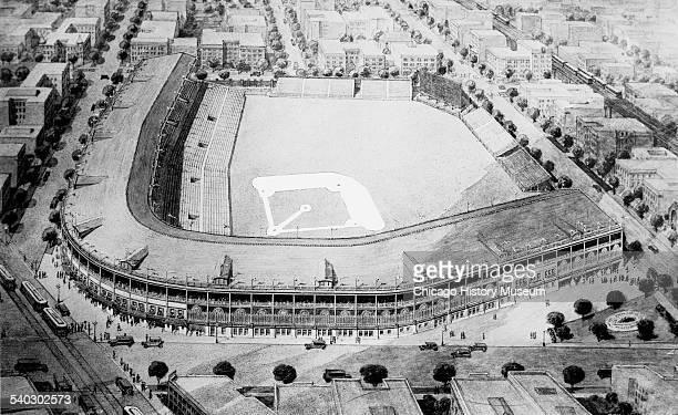 Image of a print of an elevated view looking over West Addison of the National League's Chicago Cubs baseball stadium Wrigley Field, Chicago,...