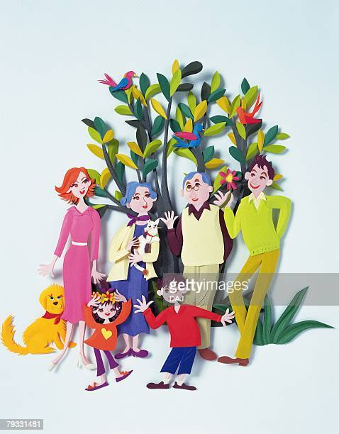 Image of a Senior Adult Couple, a Young Adult Couple and Their Children, Standing In Front of a Tree Outdoors, Front View, Paper Craft