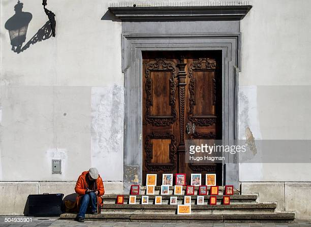 Image of a street artist in old town of Bratislava.