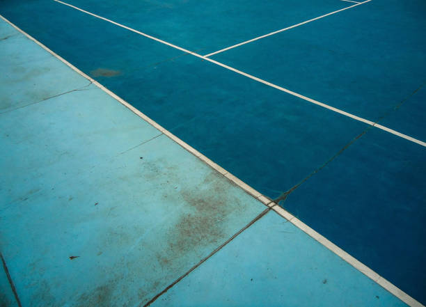 Image Of A Tennis Court With Blue Colors