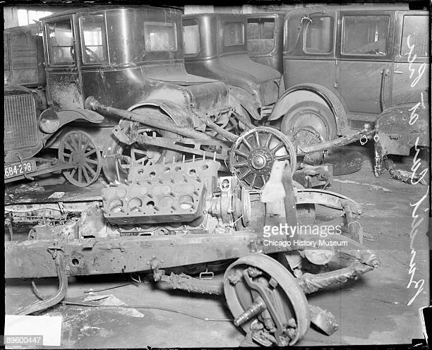 Image of a wrecked automobile used by the murderers in the St Valentine's Day Massacre also known as the Moran Gang Massacre in which reputed members...