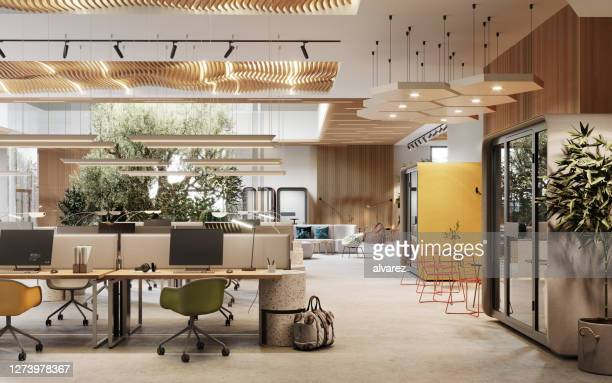 3d image of an environmentally friendly coworking office space - dentro imagens e fotografias de stock
