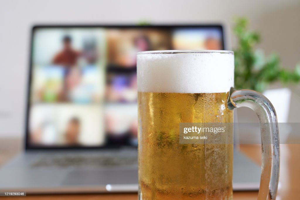 Image of an online drinking session : Stock Photo